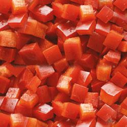Pimiento rojo en cubos